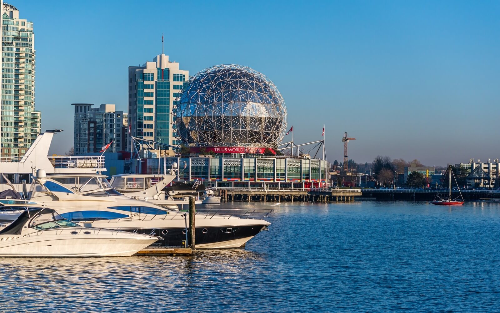 A view of Science World from the water