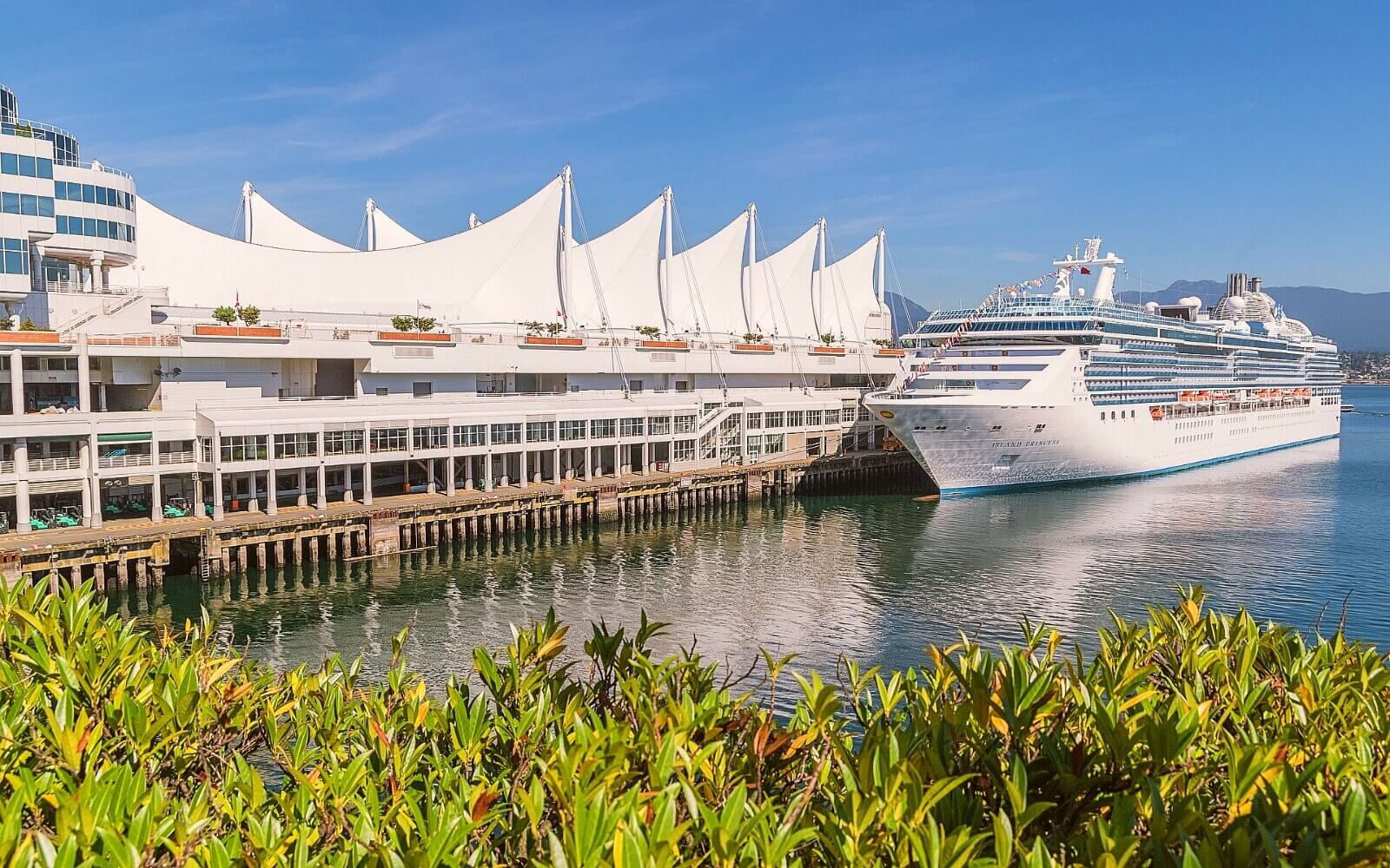 A cruise ship docks at Canada Place, Vancouver