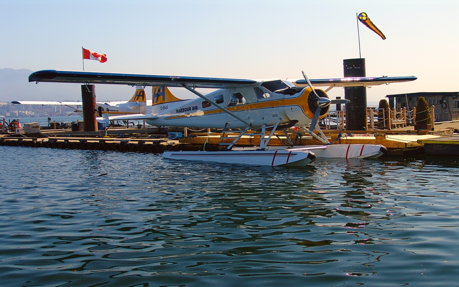 A Harbour Air floatplane sits in Vancouver Harbour