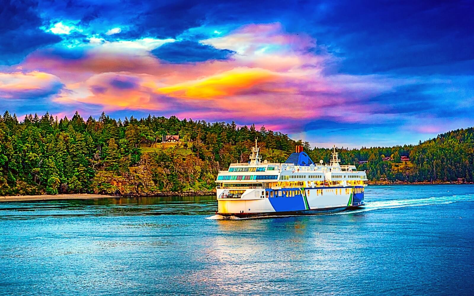 A BC Ferry passes through Active Pass