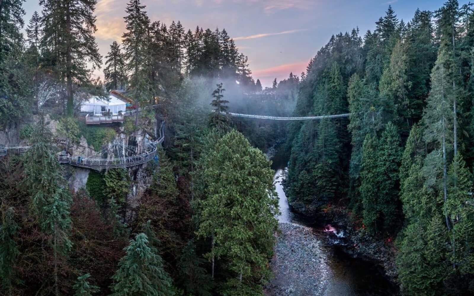 a long range view of the capilano suspension bridge and capilano river vancouver bc canada