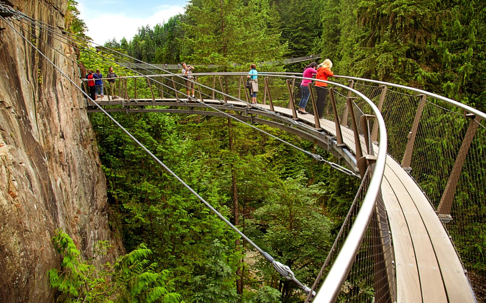 Tourist peer over the edge of the Capilano Suspension Bridge