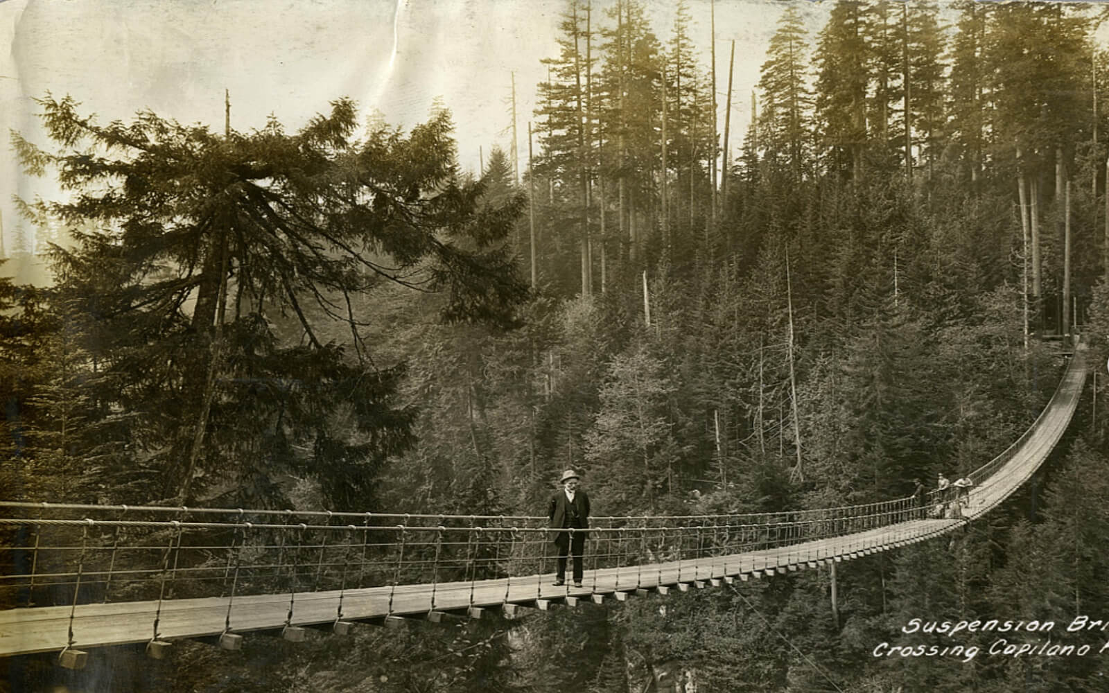 The Capilano Suspension Bridge in the late 19th century