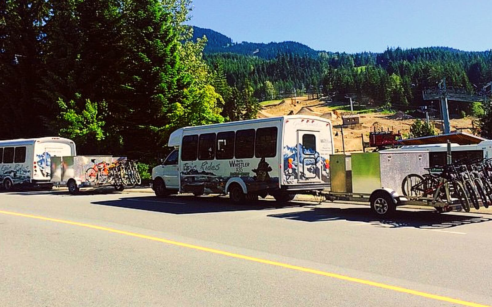The Epic Rides shuttle enters Whistler