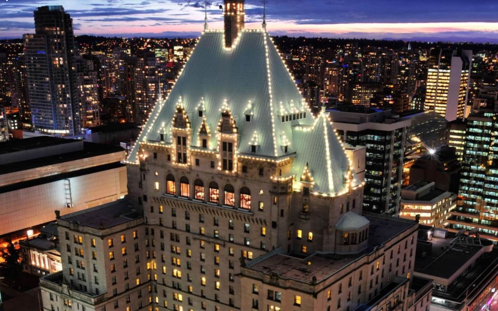The Fairmont Hotel Vancouver at night