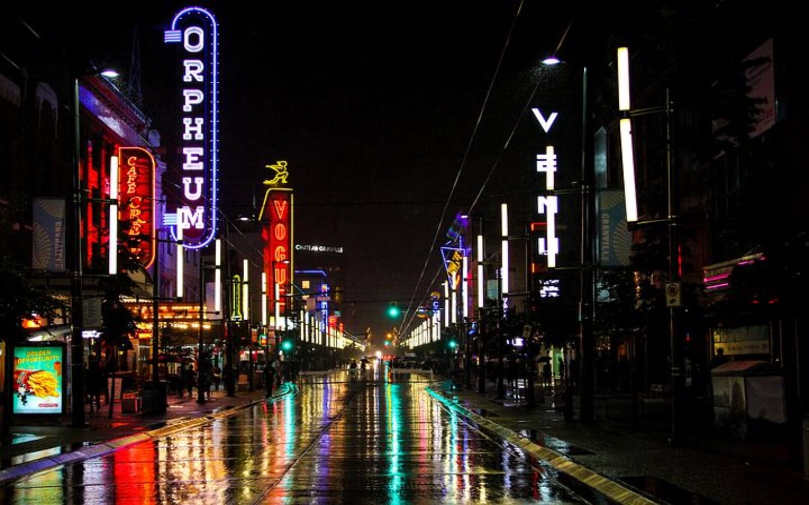 The Granville Strip at night
