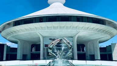 crab fountain outside the hr macmillan space centre in vancouver canada