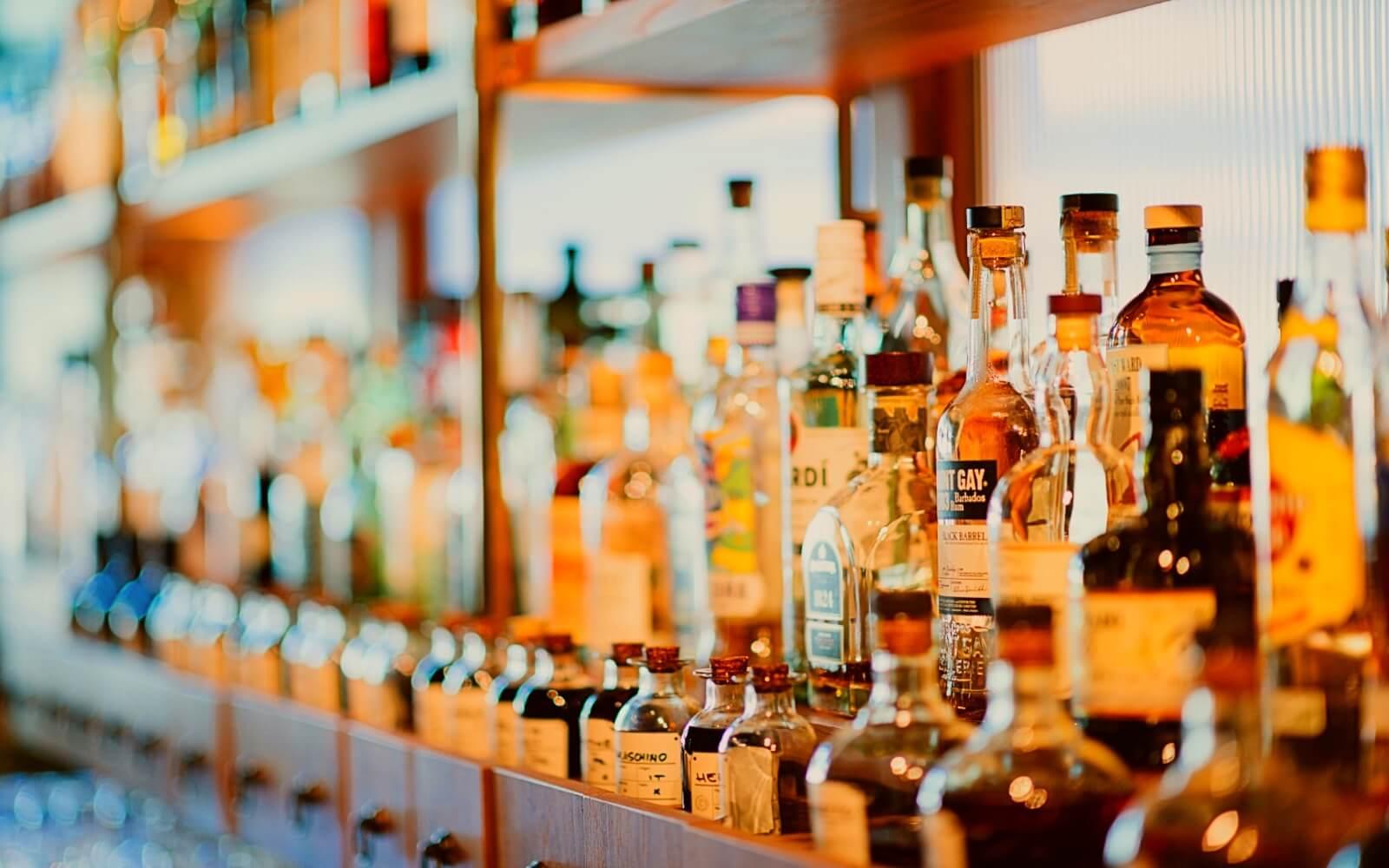 Bottles behind a bar