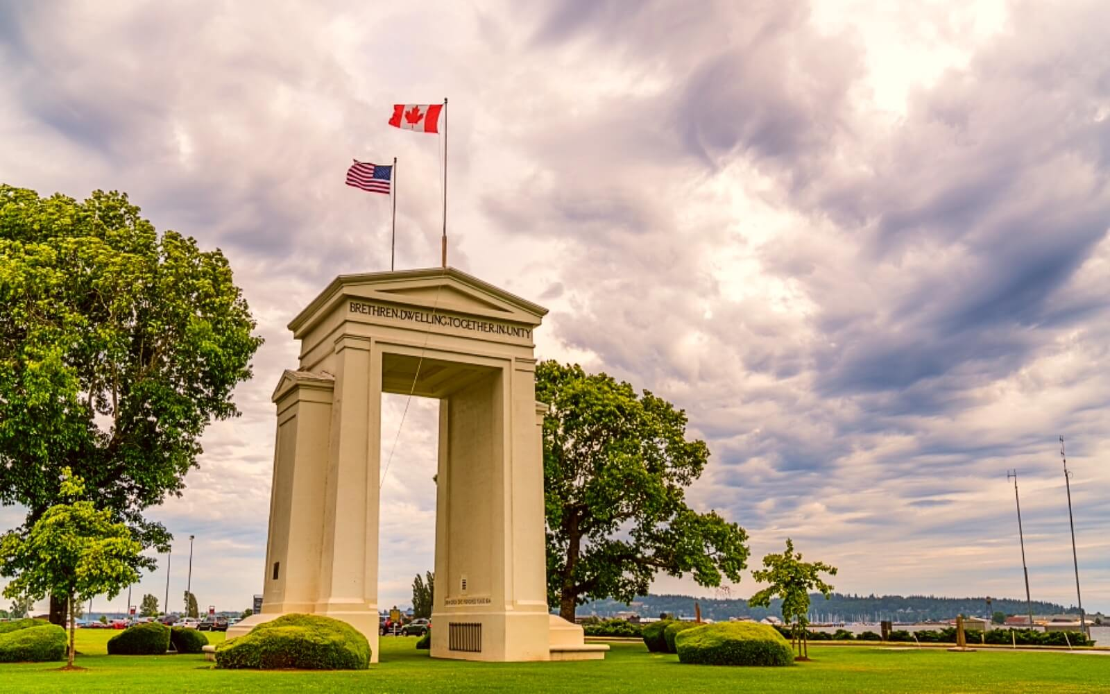 The Peace Arch monument at the US Canada Border