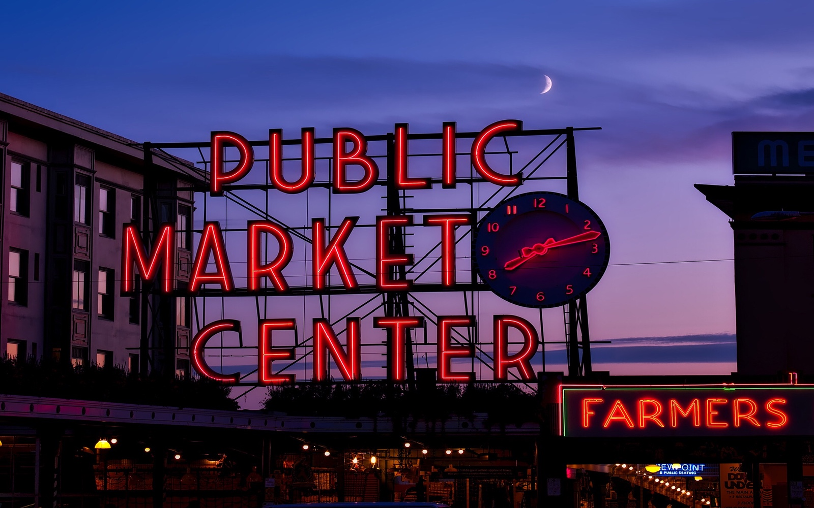 The Pike Place Market at night