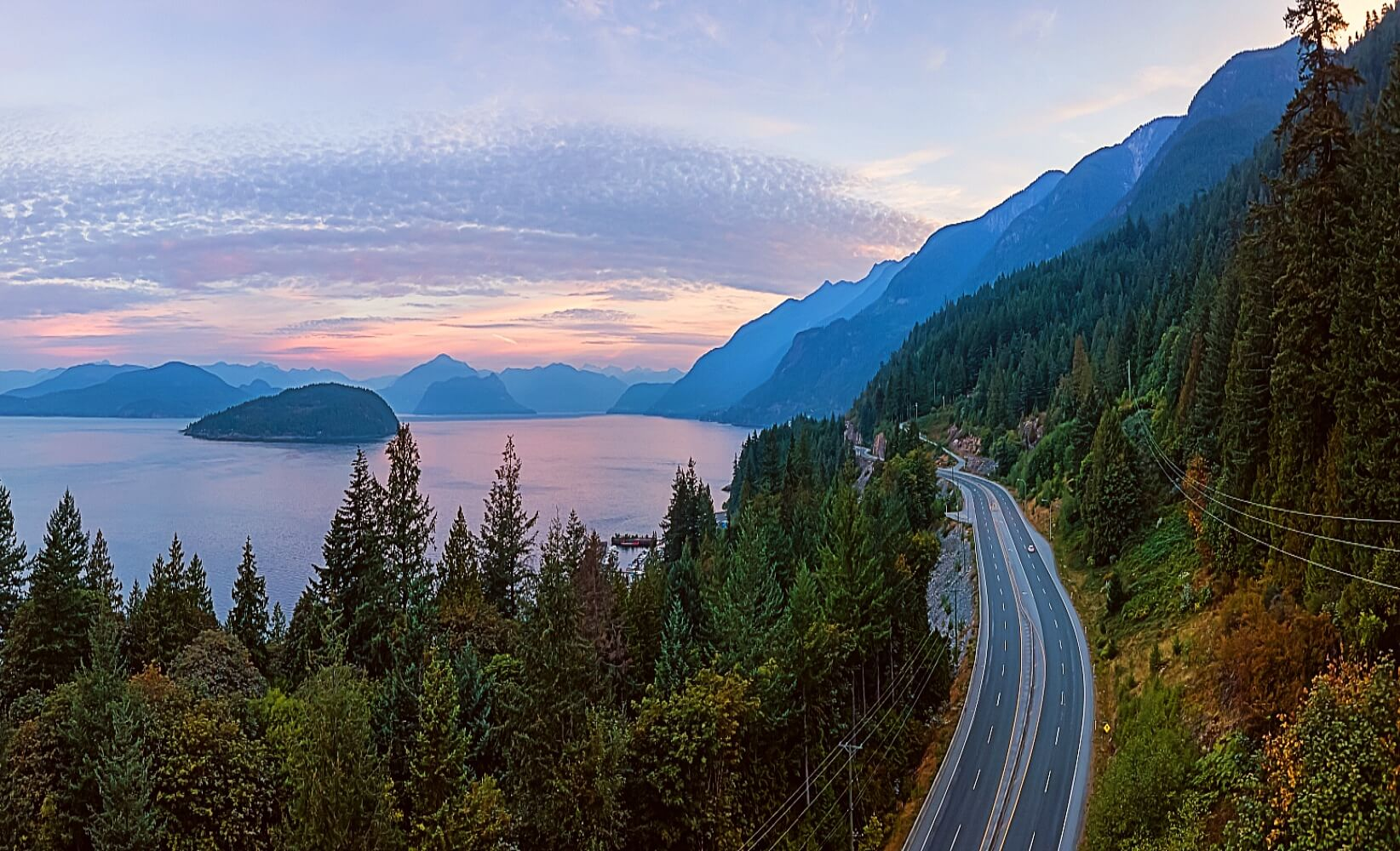 The Sea to Sky Highway passes by Howe Sound