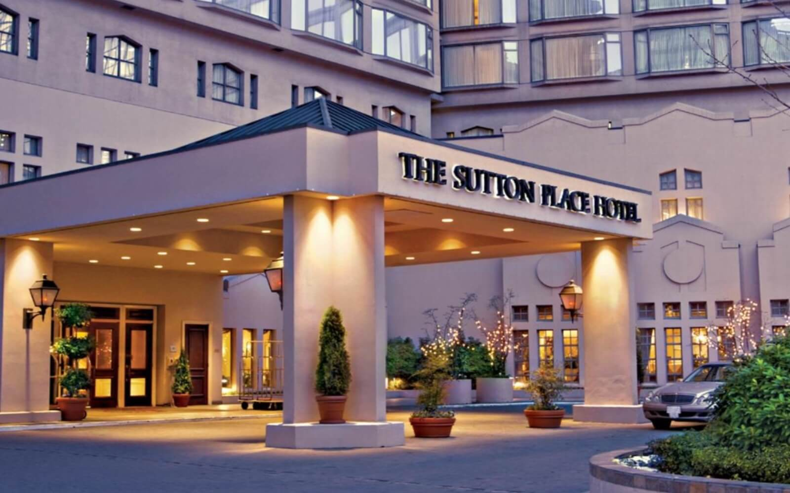 The entrance at the Sutton Place Hotel