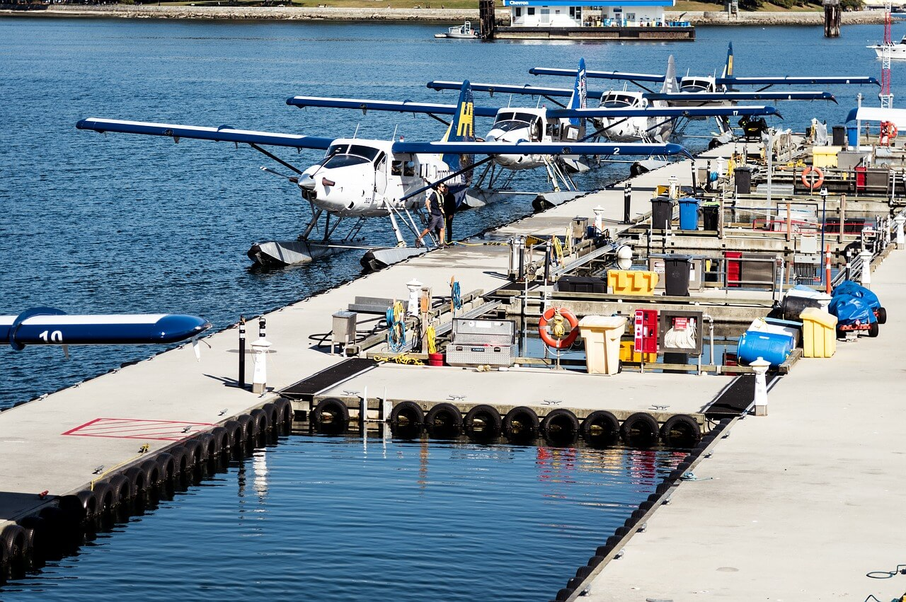 Planes sit at the Vancouver Floatplane Terminal
