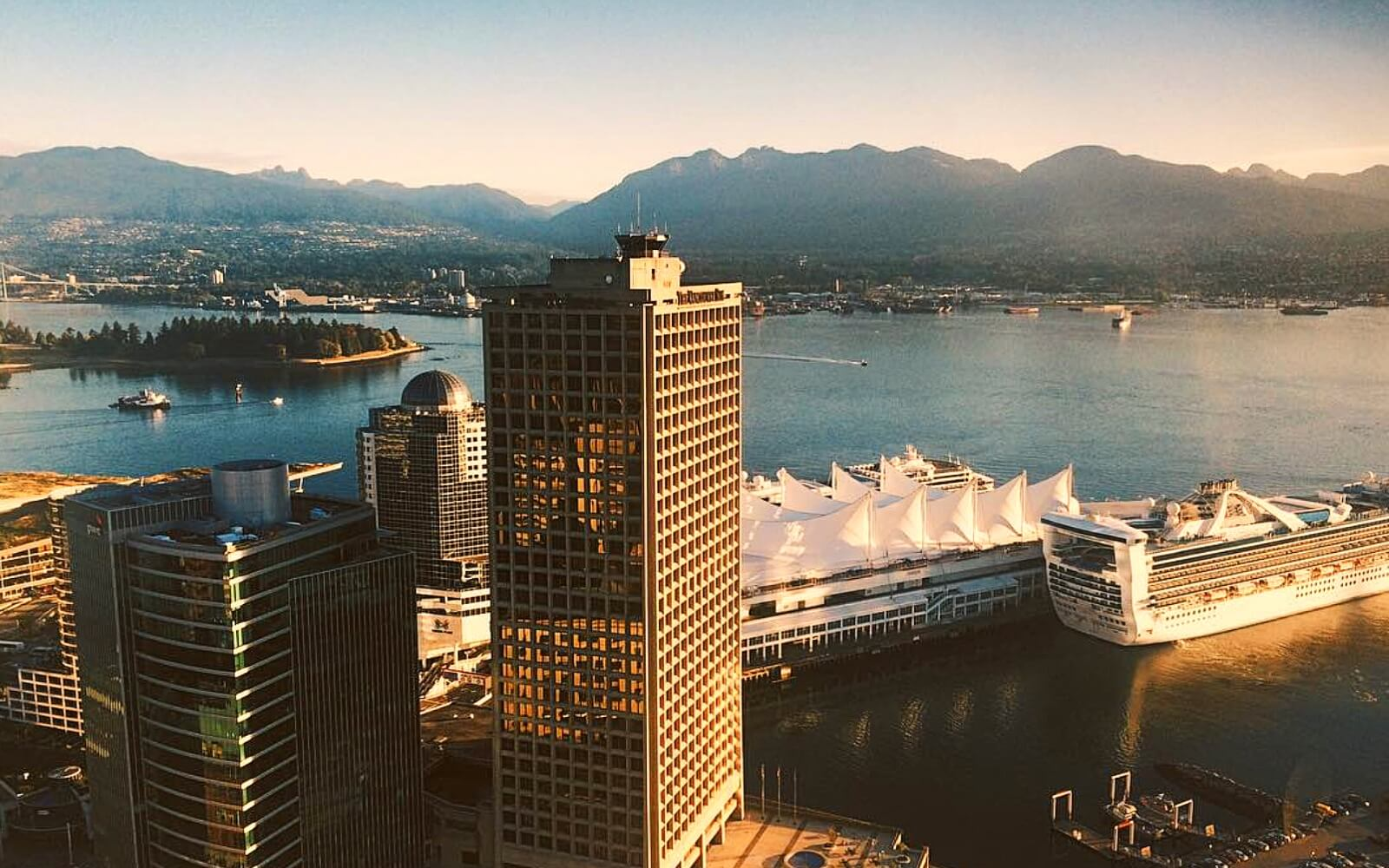 The view of Burrard Inlet from Vancouver Lookout