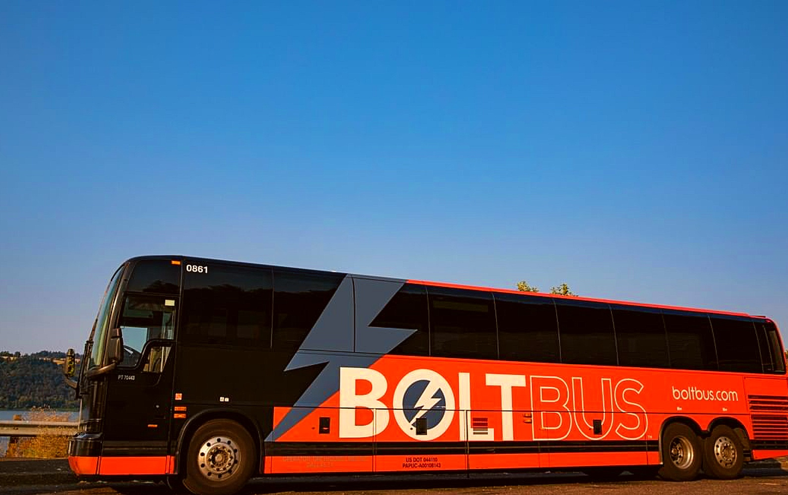 A Boltbus drives down the highway
