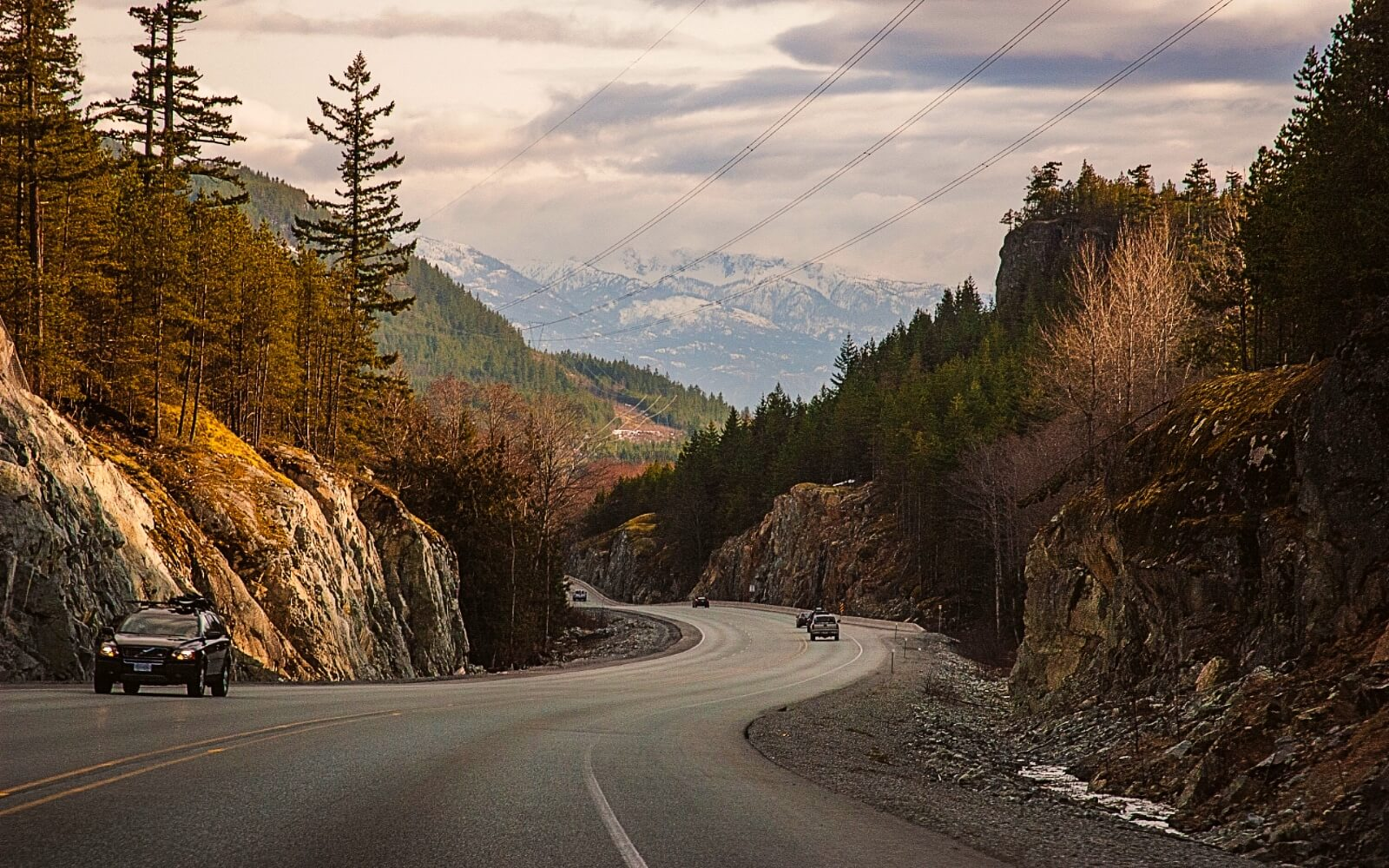 Cars on the Sea to Sky Highway