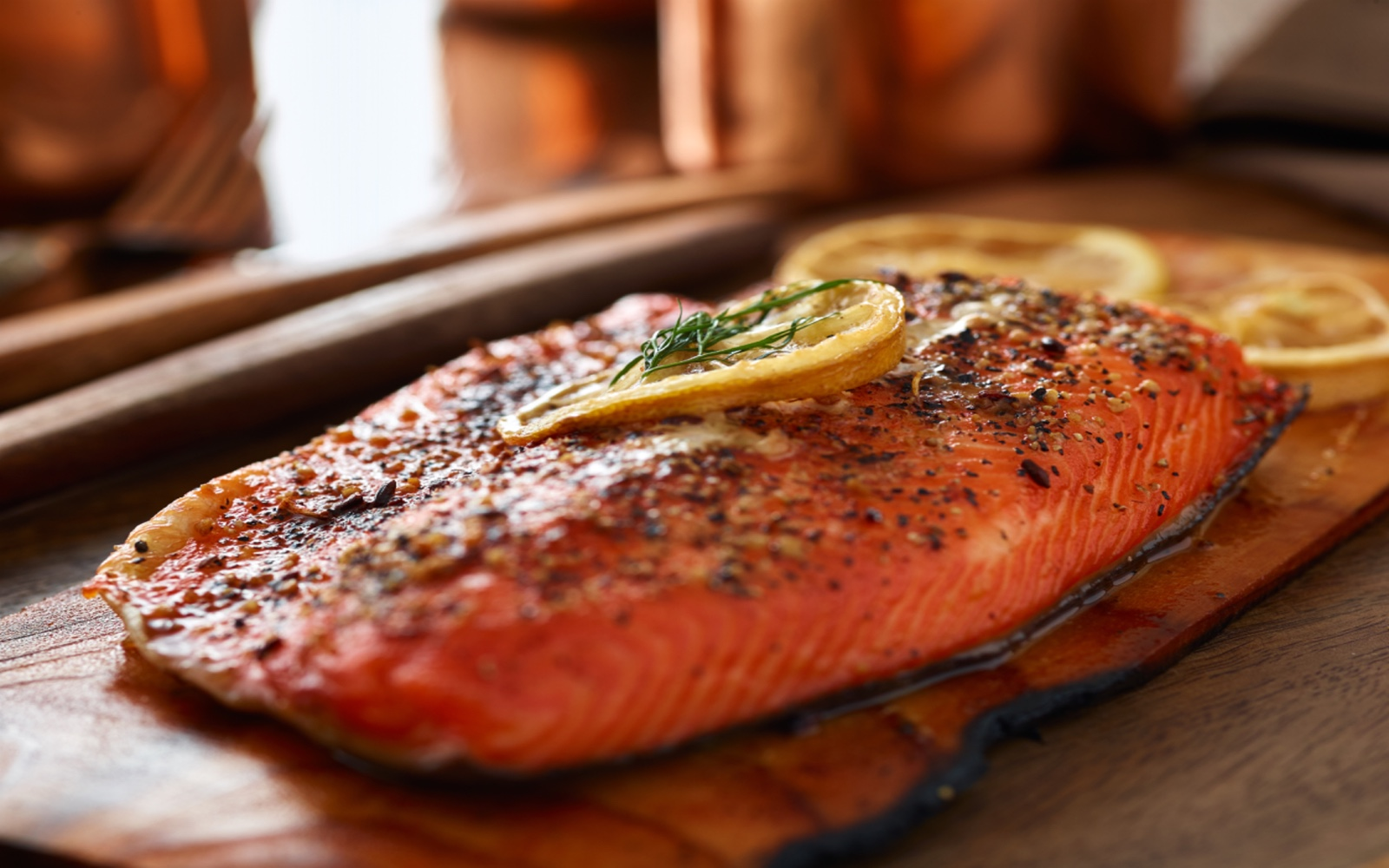 Sockeye salmon cooked on a cedar plank