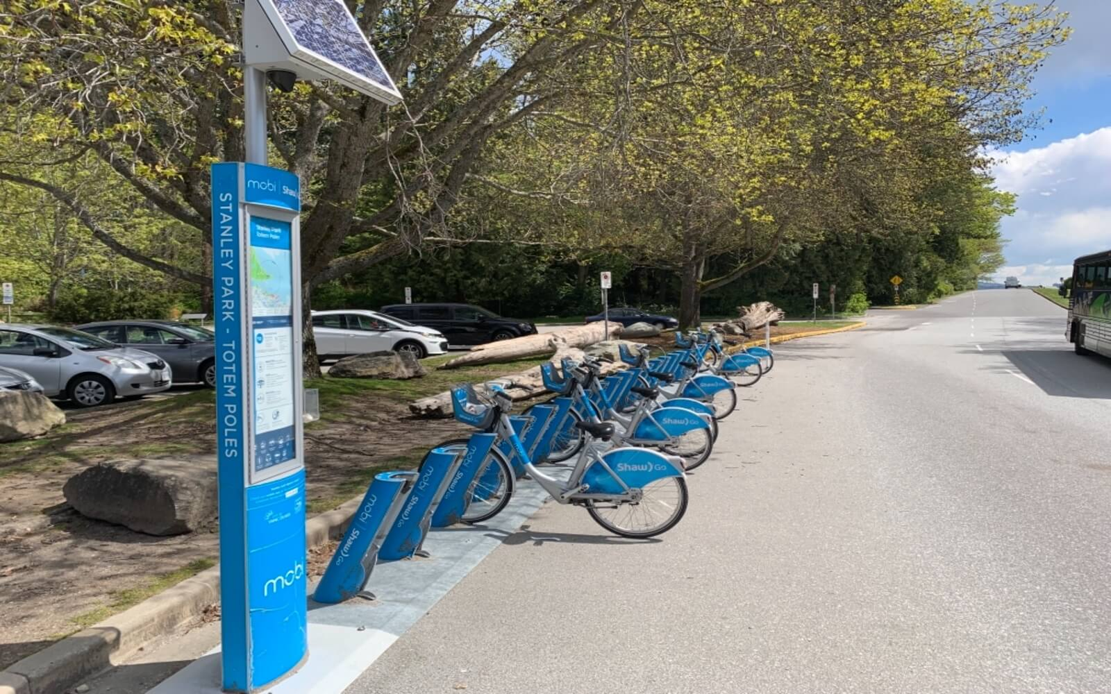 mobi bike share terminal in stanley park vancouver bc canada