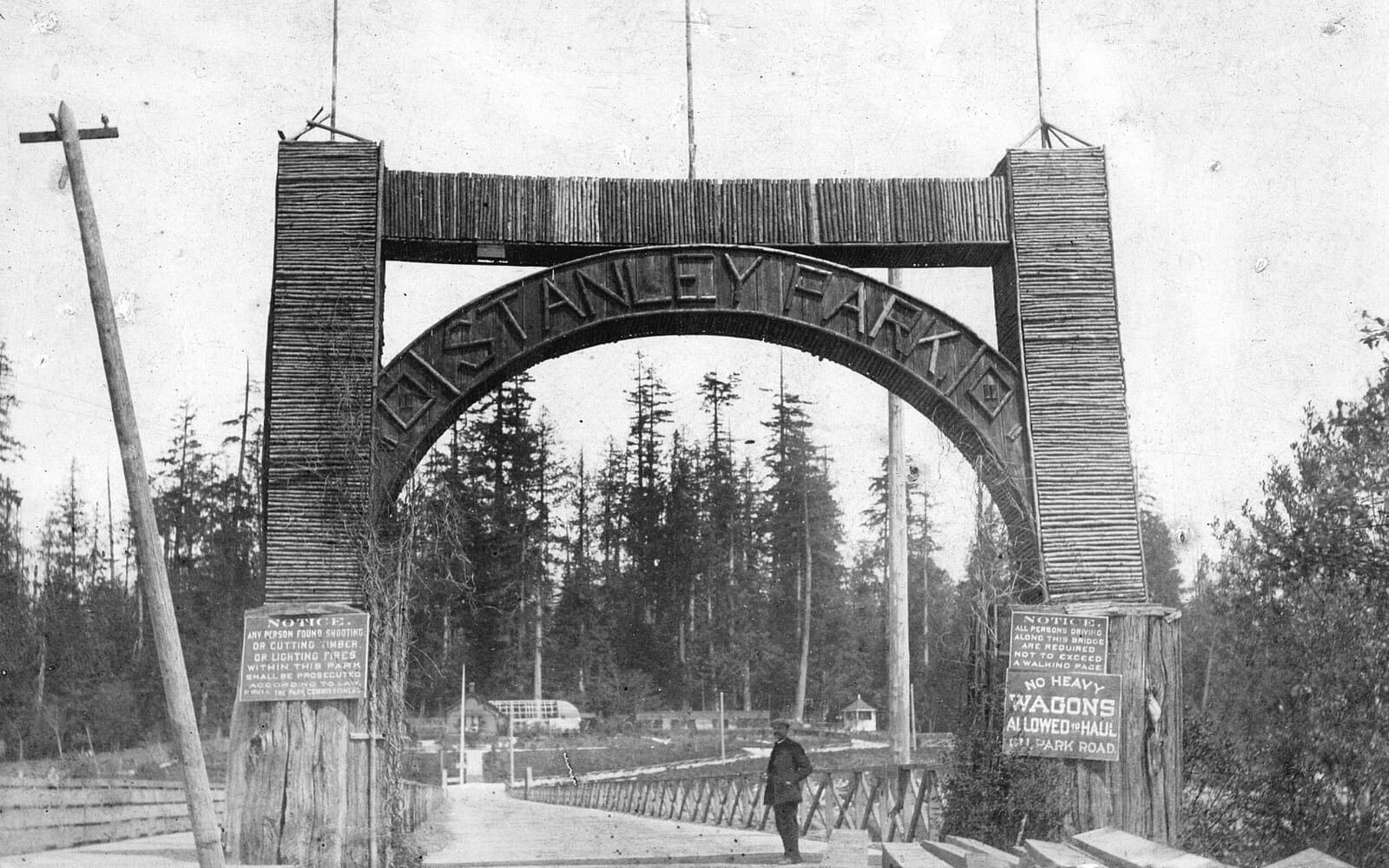 The entrance to Stanley Park in 1895