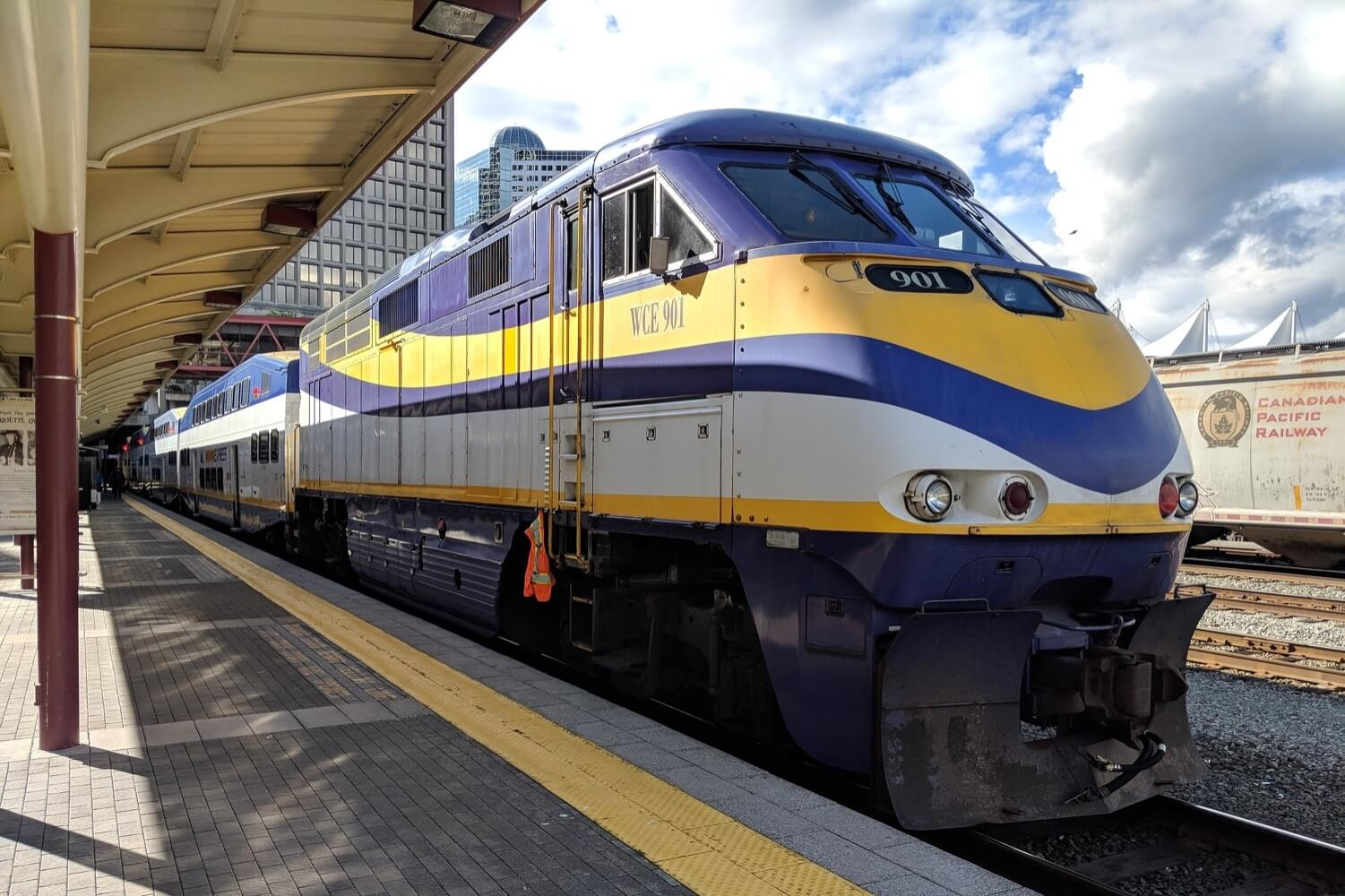 the west coast express train at waterfront station vancouver bc canada