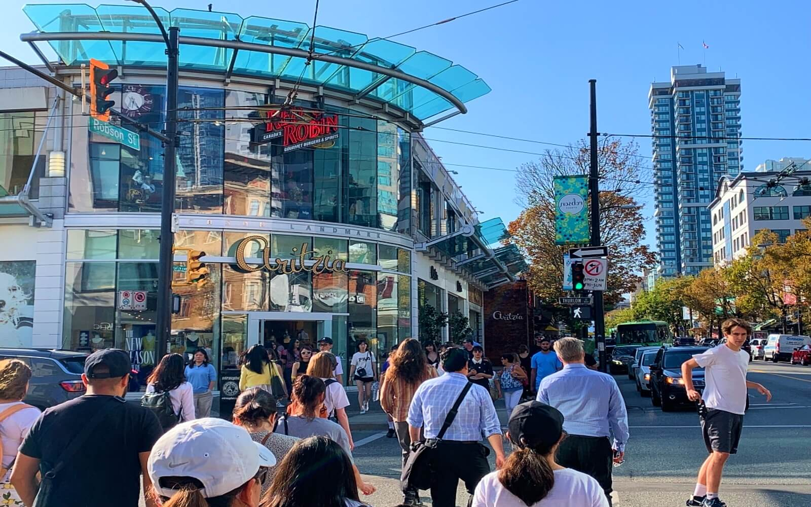 People shopping along Vancouver's Robson Street