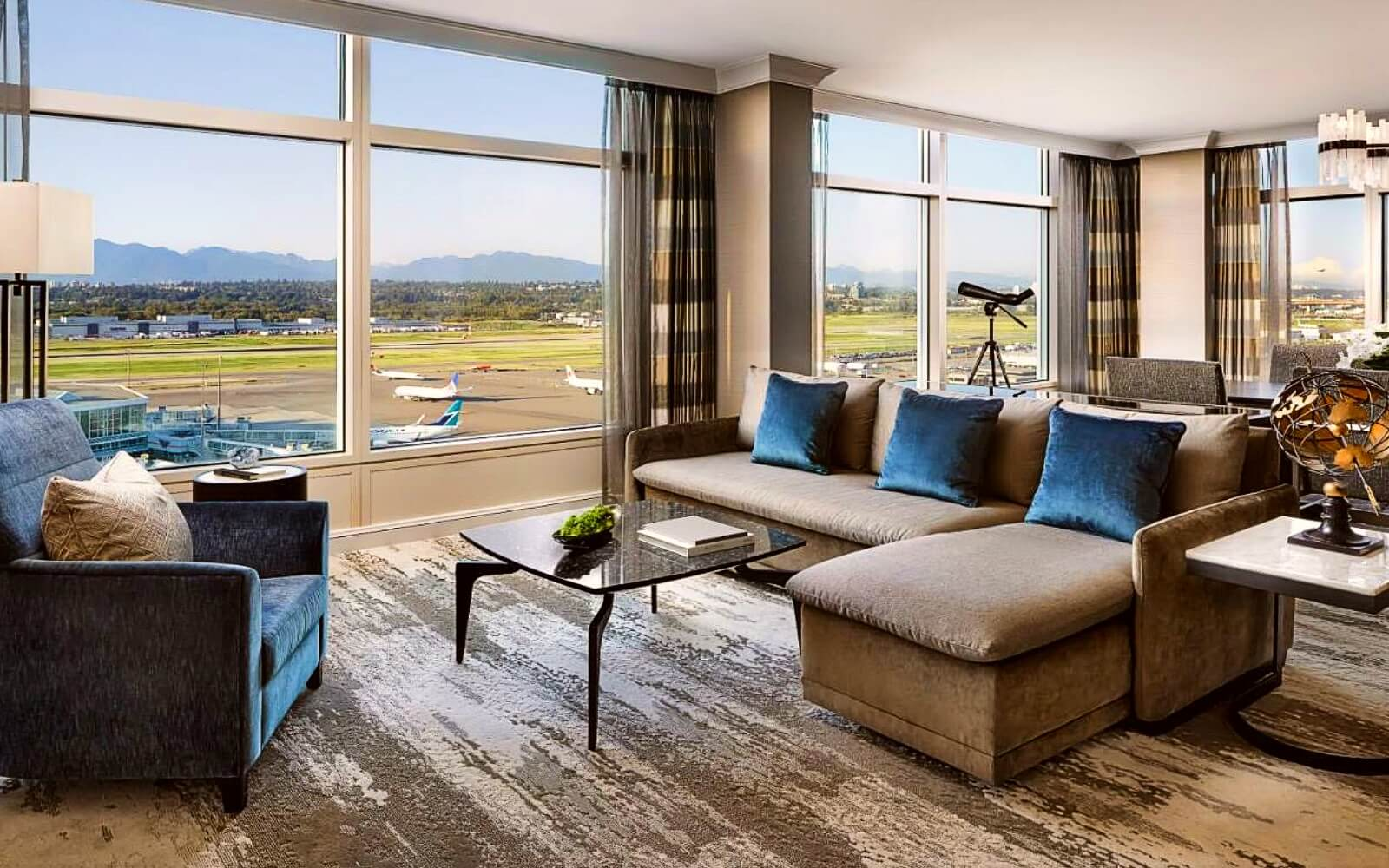 The view from a suite at the Fairmont Gold Vancouver Airport