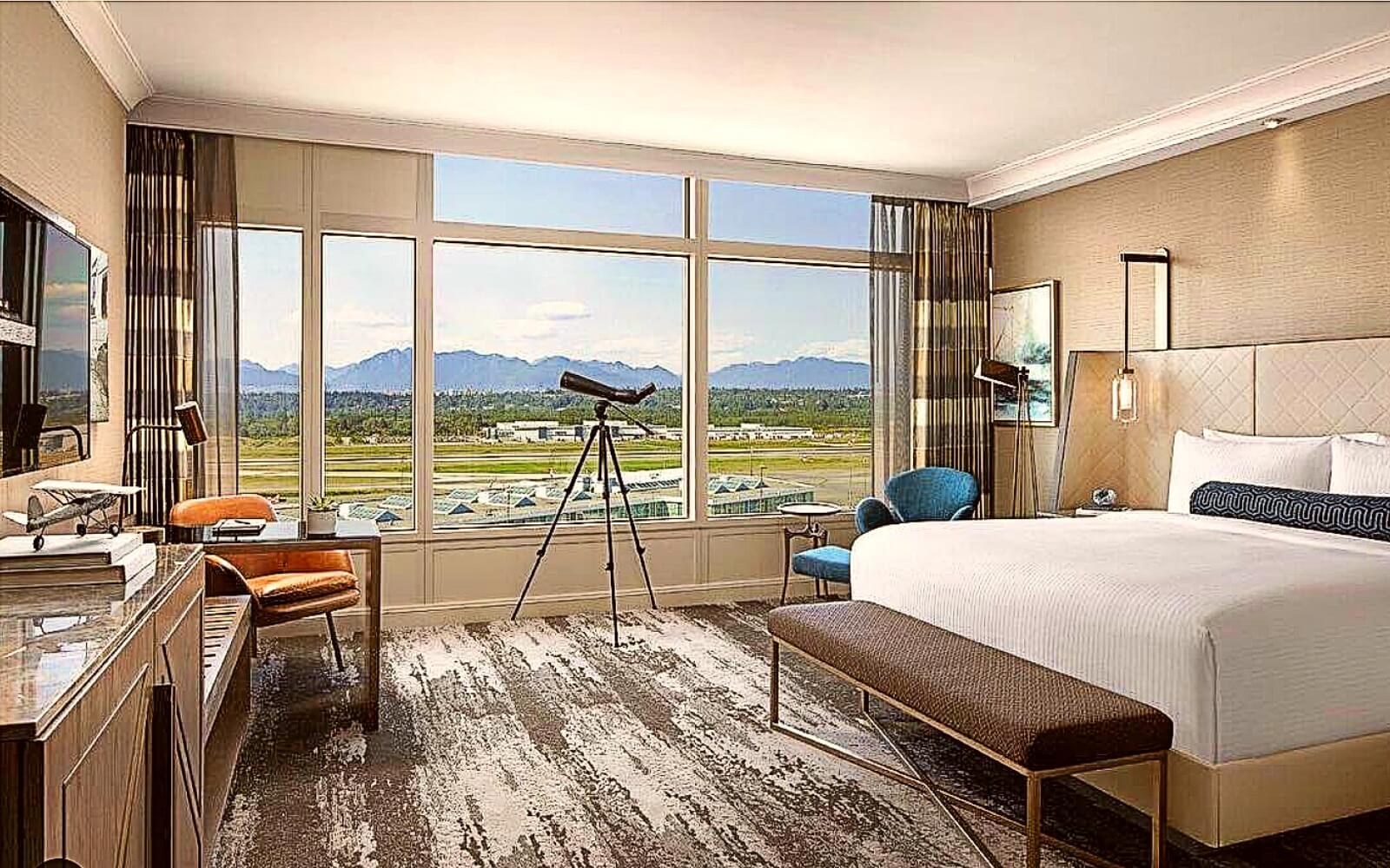 The view from a room at the Fairmont Vancouver Airport