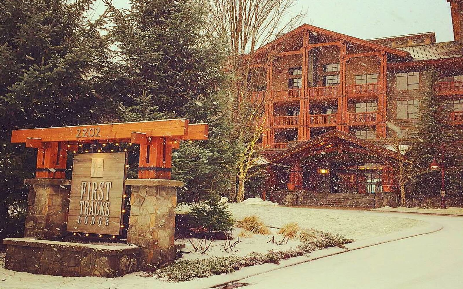 The entrance to the First Track Lodge, Whistler