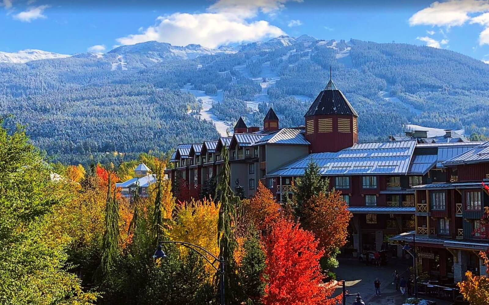 The Pinnacle Hotel sits in front of Whistler Mountain