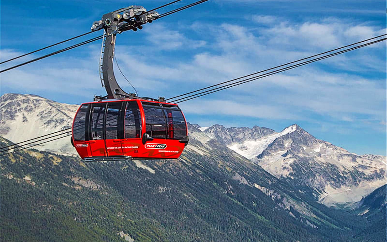 The Peak 2 Peak Gondola in front of a mountain backdrop