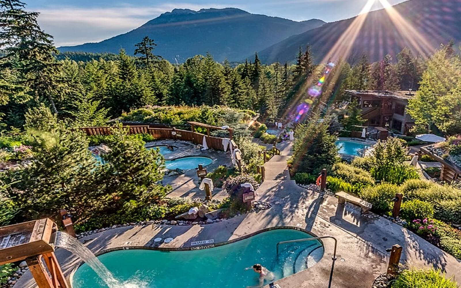 A panoramic view of the Scandinave Spa, Whistler
