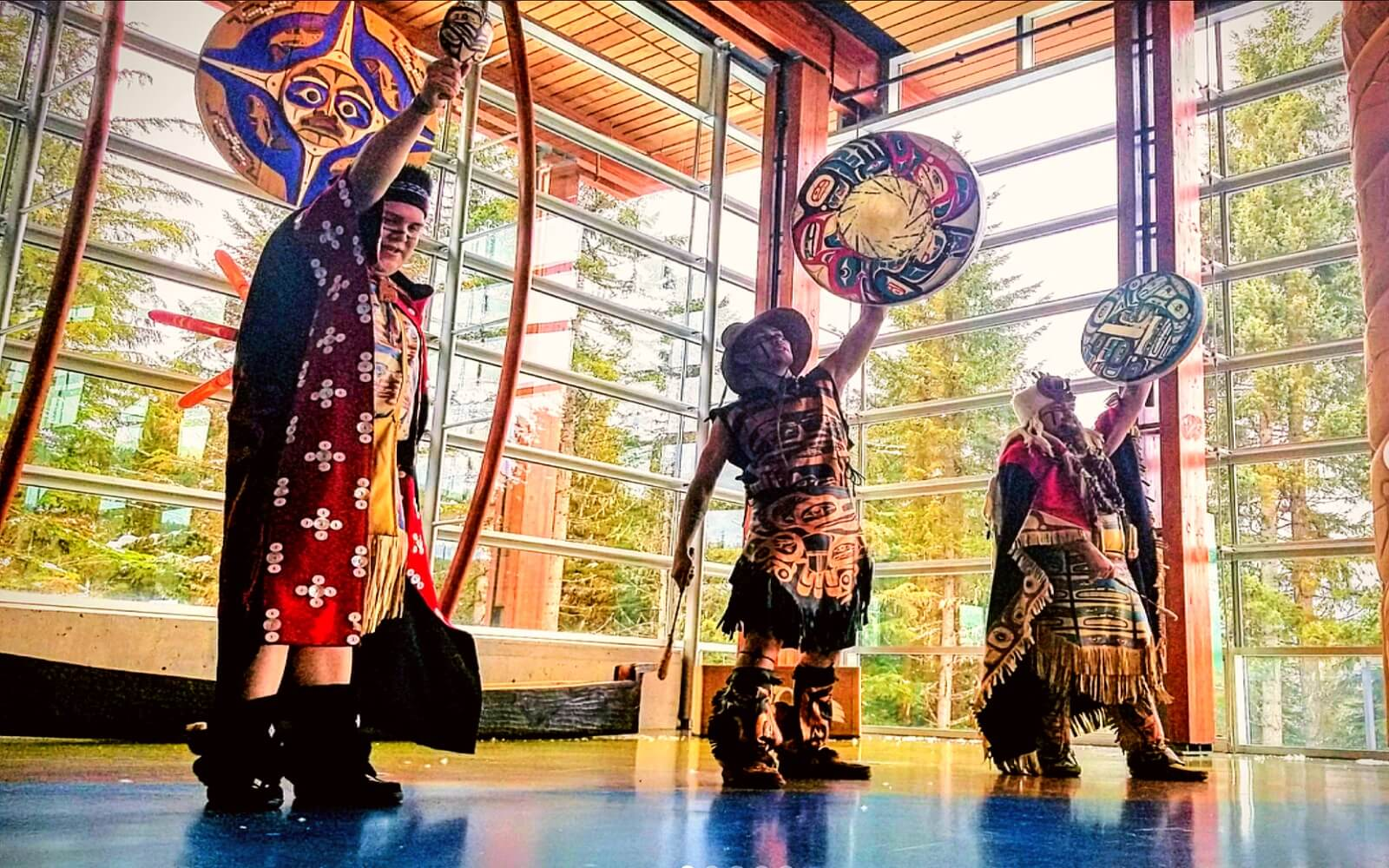 Traditional Squamish dancers at the slcc, Whistler