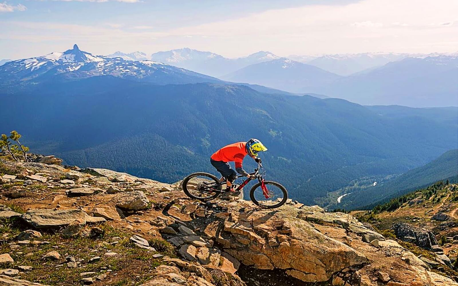 A mountain biker in front of a mountain vista