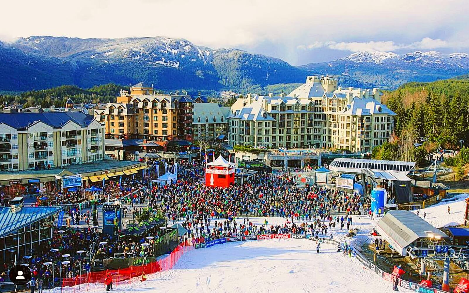 A crowd fill Whistler Village at the World Ski & Snowboard Festival