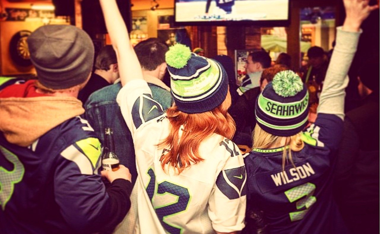 Football fans enjoy the game at Tapley's Pub, Whistler