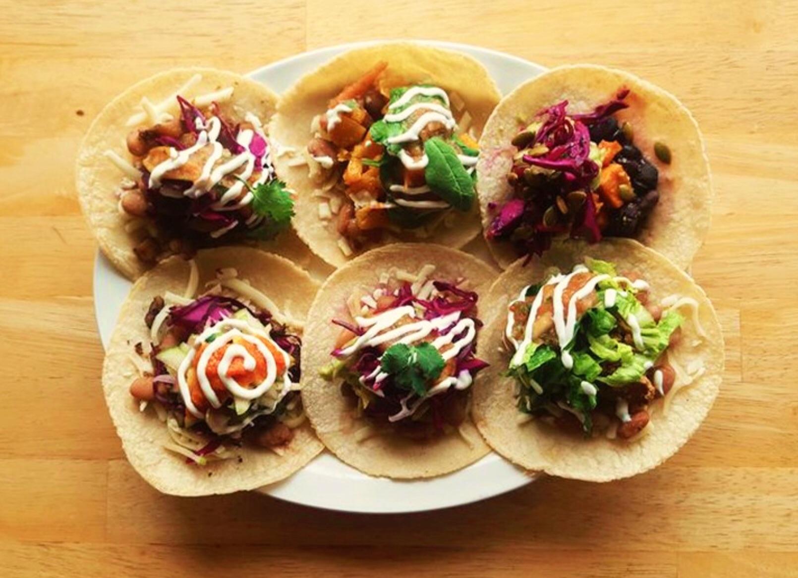 A taco pl;after at Bandidas Taqueria, Commercial Drive