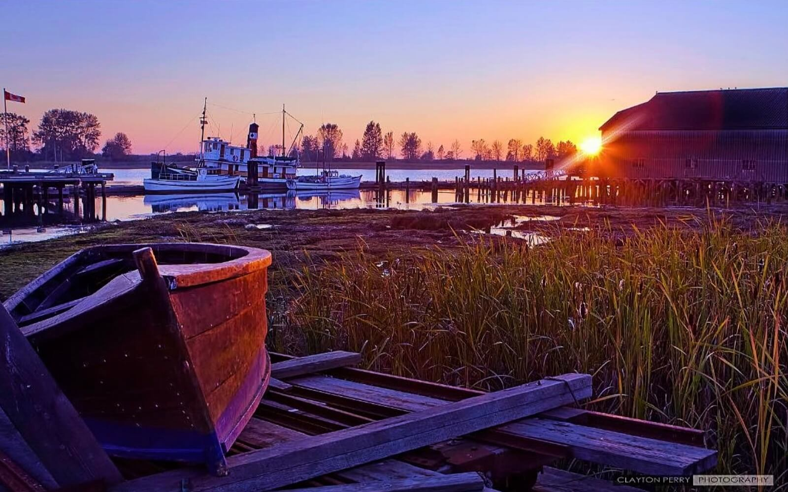 The sun sets over Britannia Shipyards, Steveston BC
