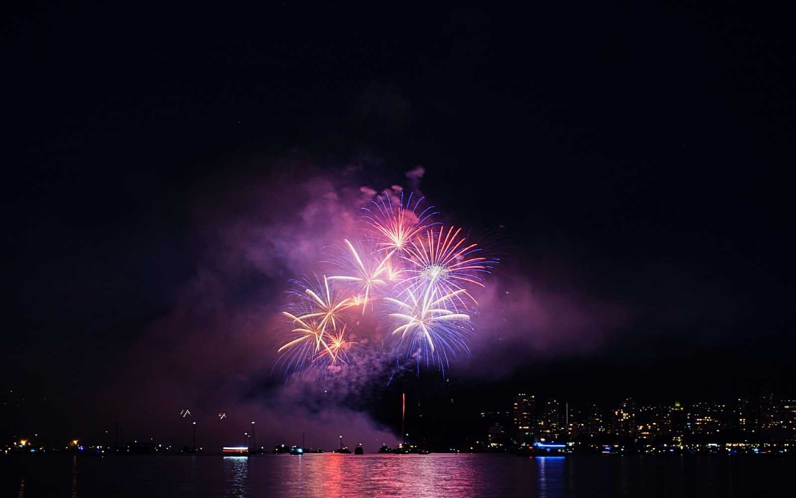The fireworks over English Bay at the Celebration of Light, Vancouver
