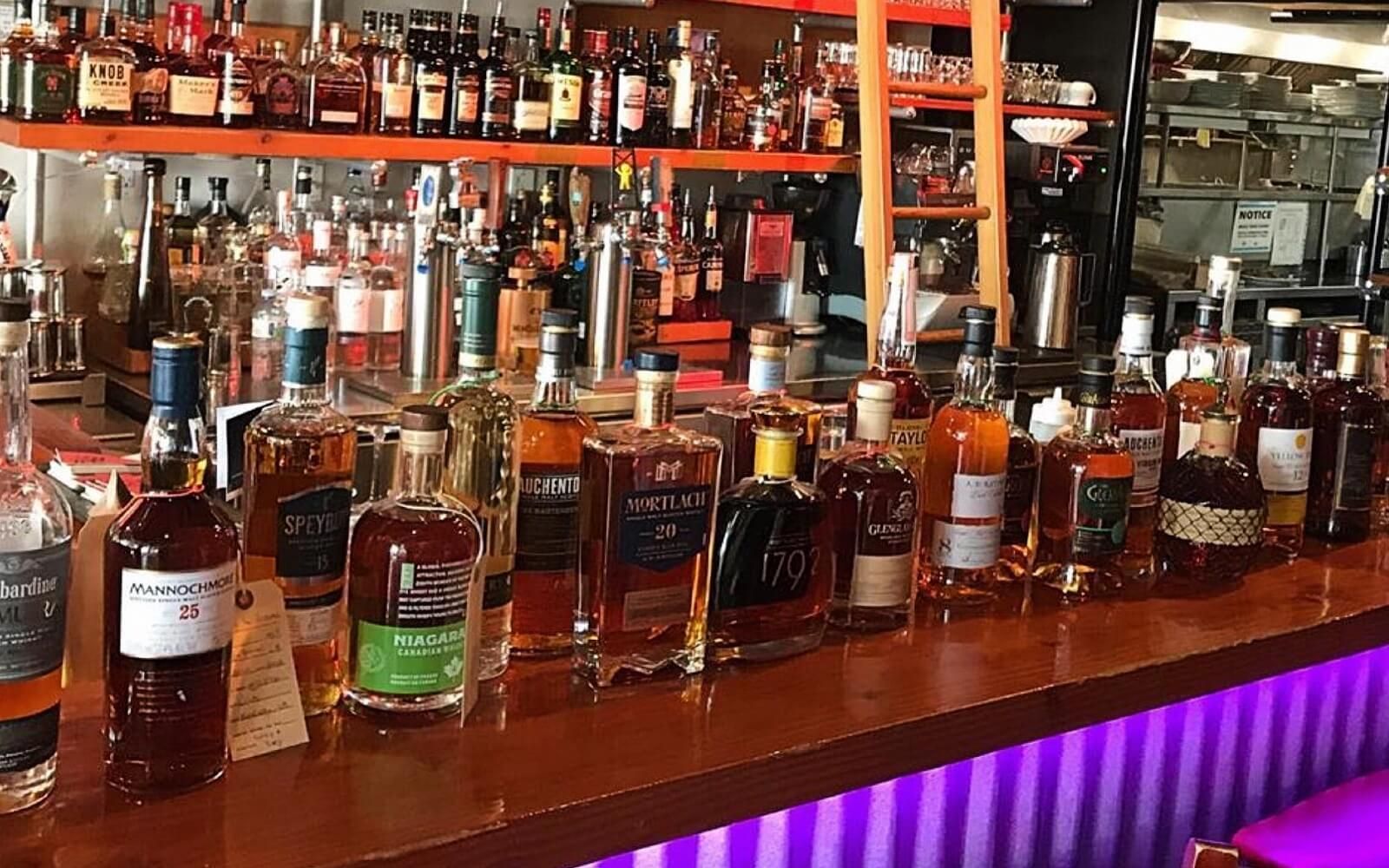 A collection of whiskies at Fets Whisky Kitchen