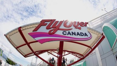 The entrance to the Flyover Canada flight simulator experience