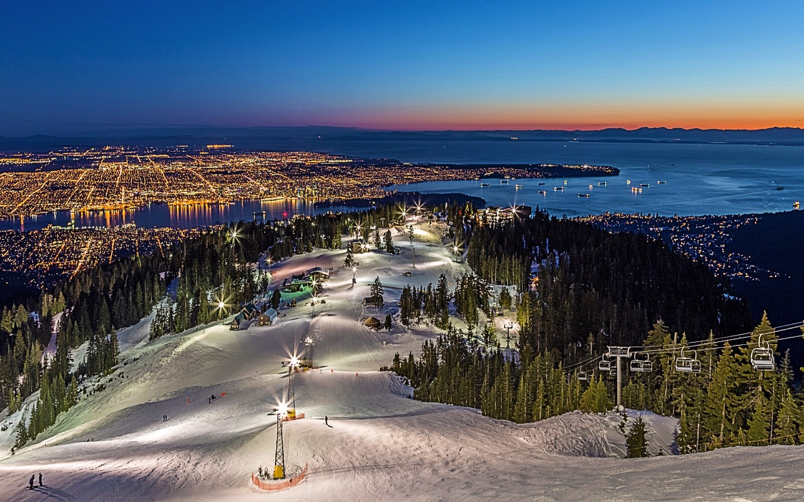 The view from Grouse Mountain at dusk