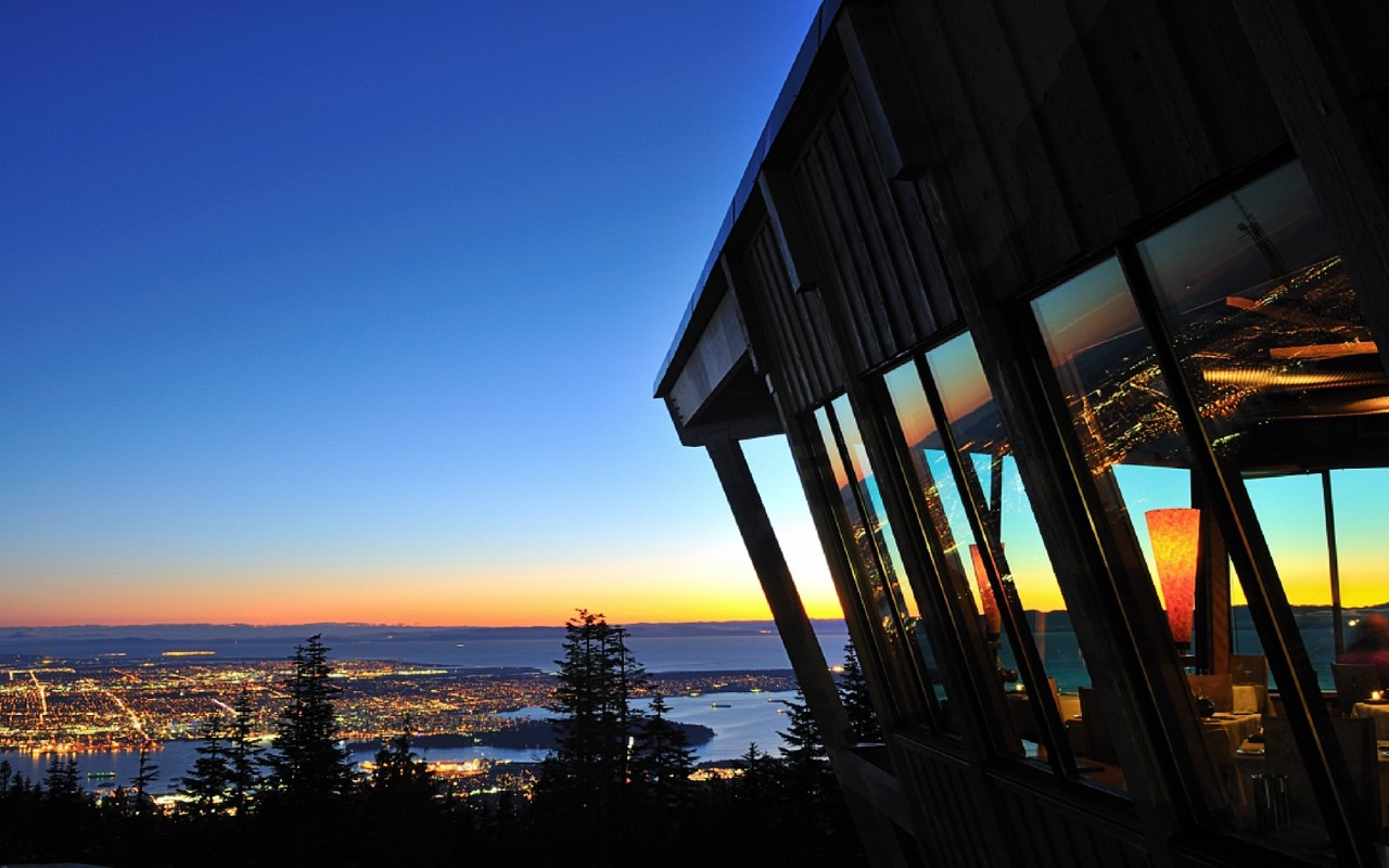 the Grouse Mountain Peak Chalet at dusk