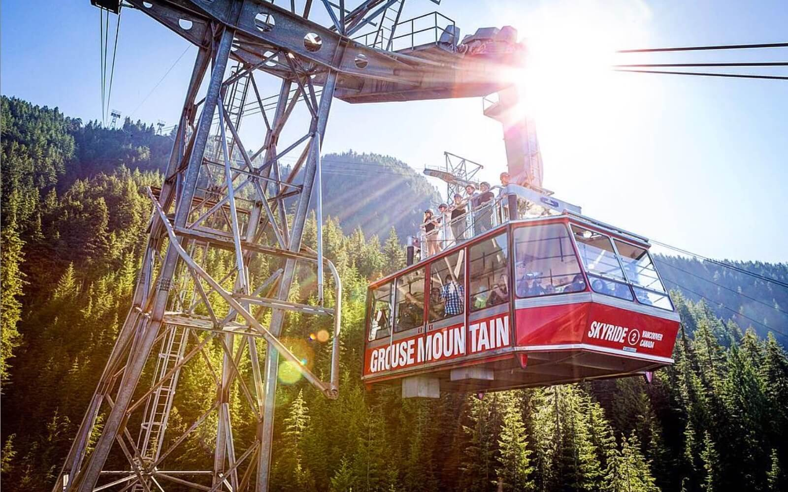 The Grouse Mountain Skyride descends down the mountain