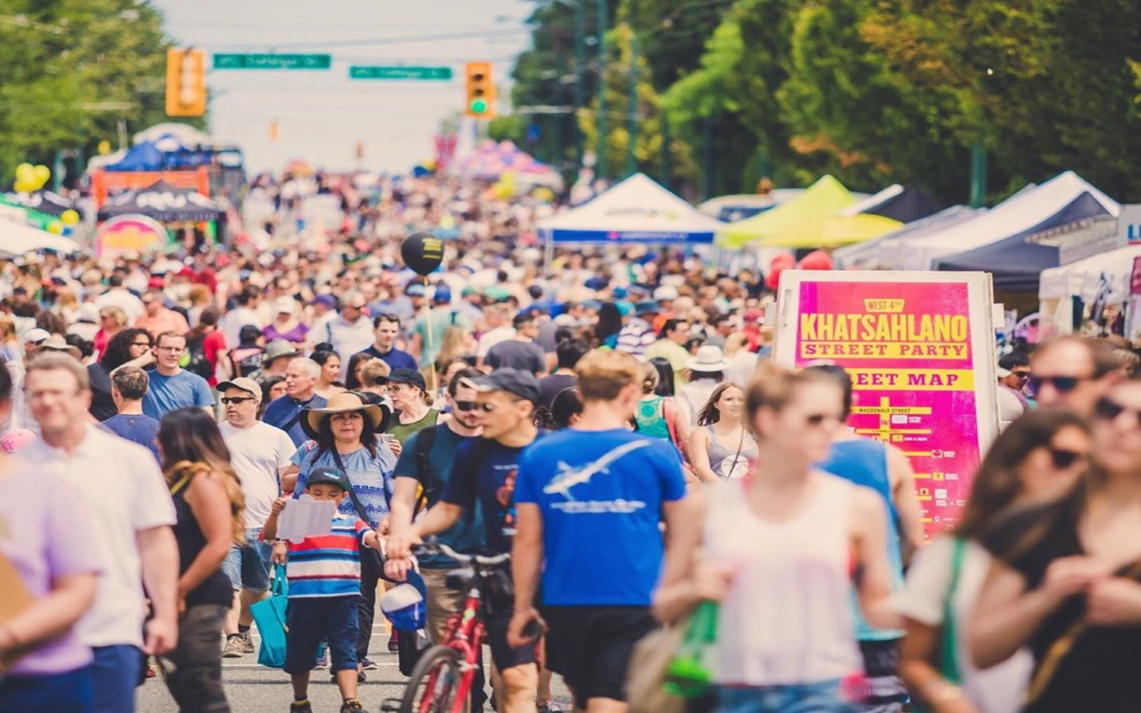 A crowd at Khatsalano Festival, Vancouver