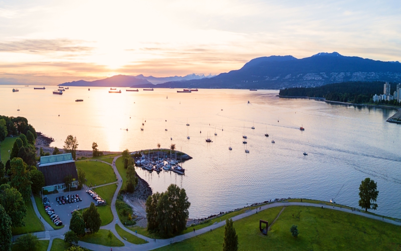 An aerial shot of English Bay from above Kits Point