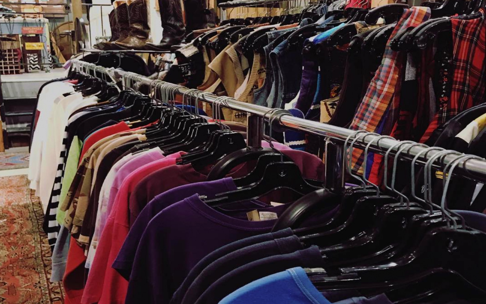 Racks of vintage clothing at Mintage, Commercial Drive