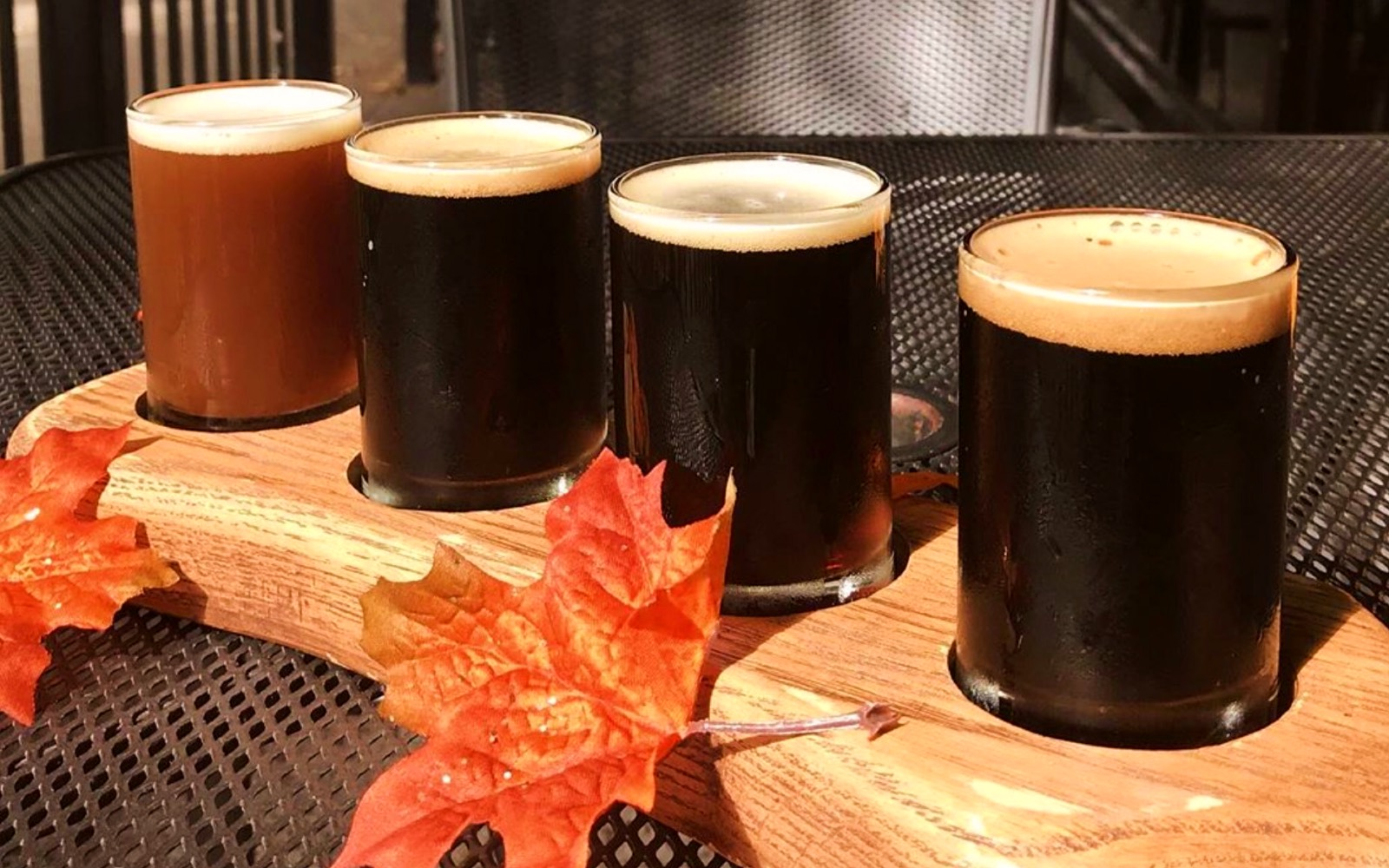 A beer flight at St. Augustines, East Vancouver