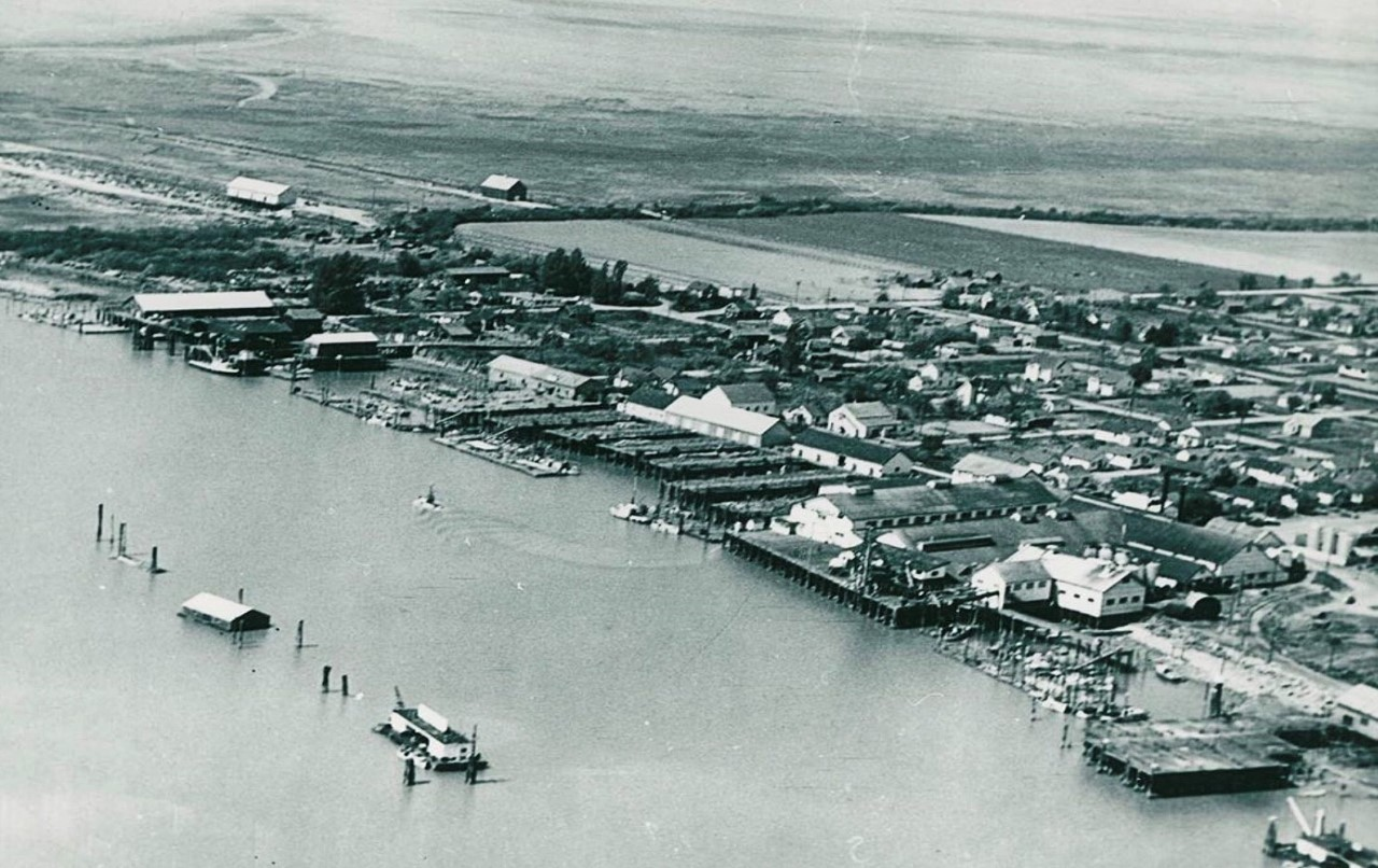 An areial photograph of Steveston in the early 20th century