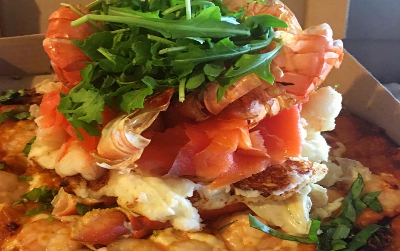 A seafood pizza at Steveston Pizza Company, Steveston BC