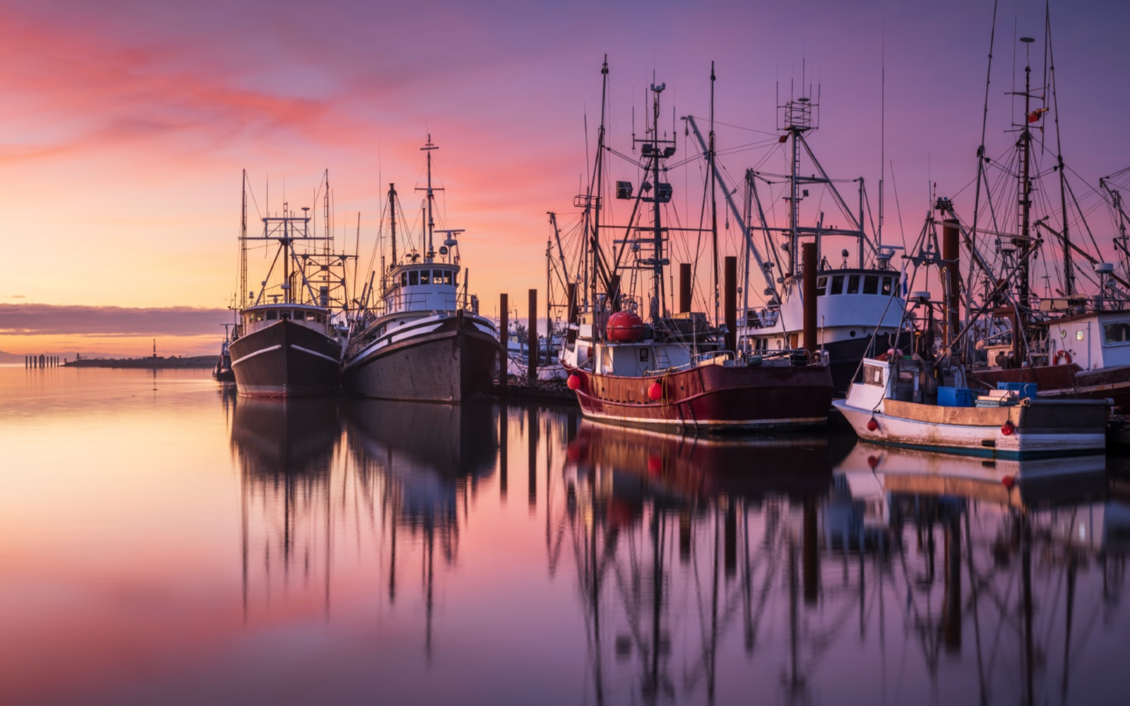 Fishing boats sit in the harbour at dusk, Steveston BC